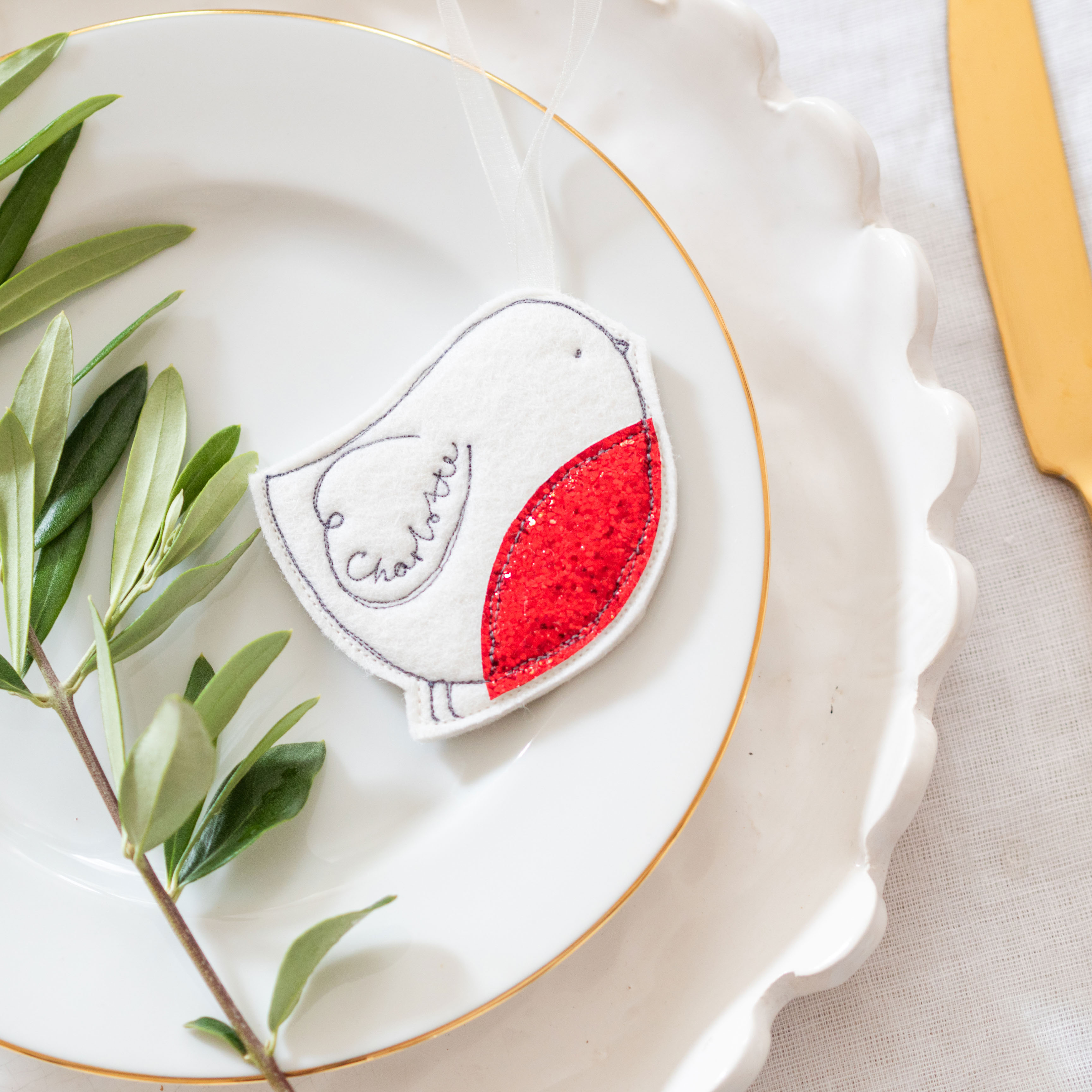 Personalised Robin decorations