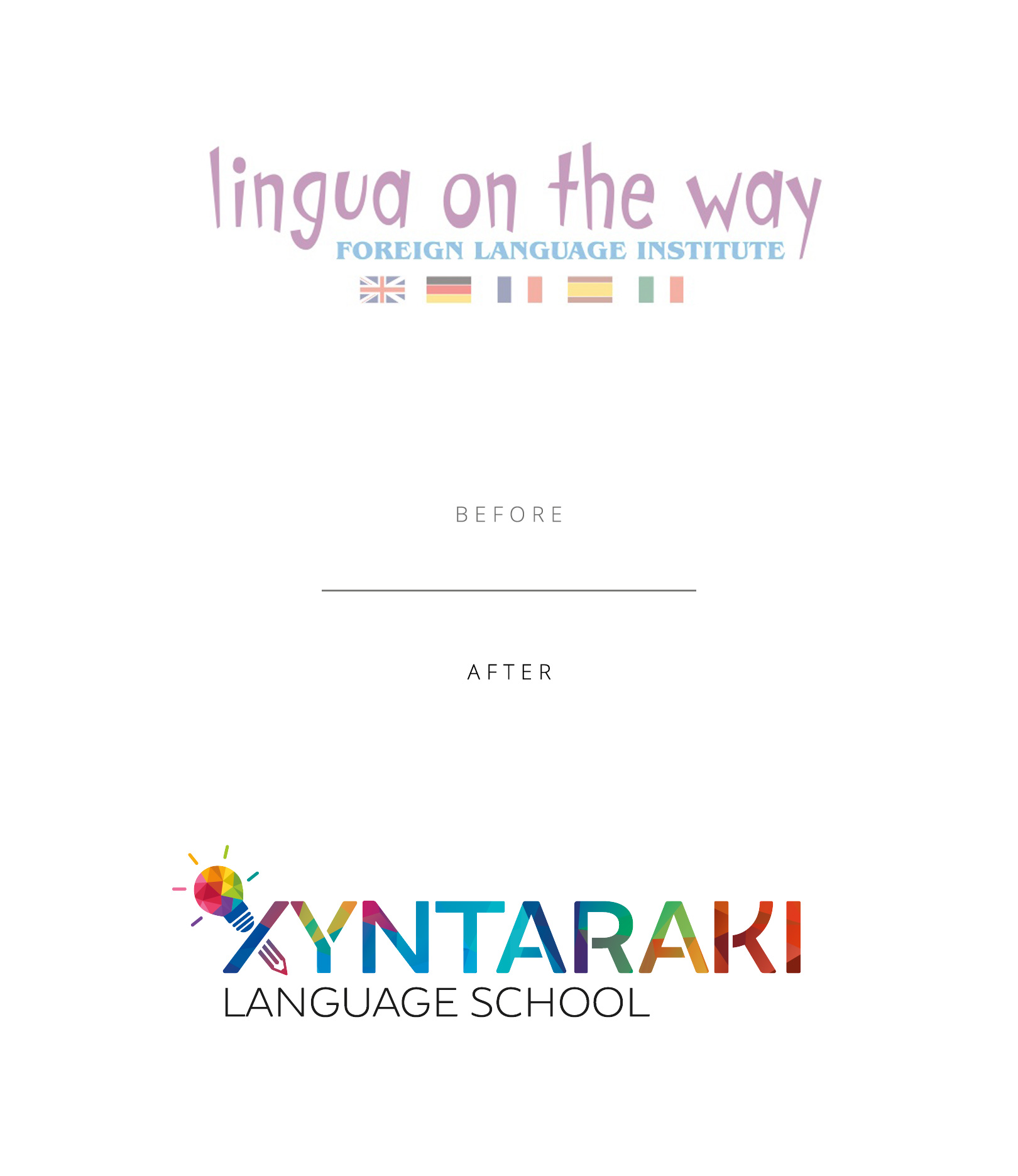Xyntaraki Language School logo before and after