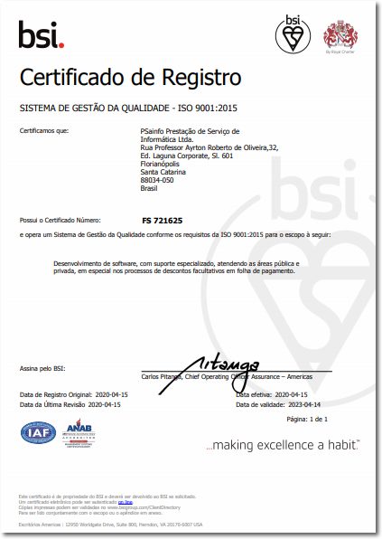Certificado de Registro ISO 9001 - PSAINFO