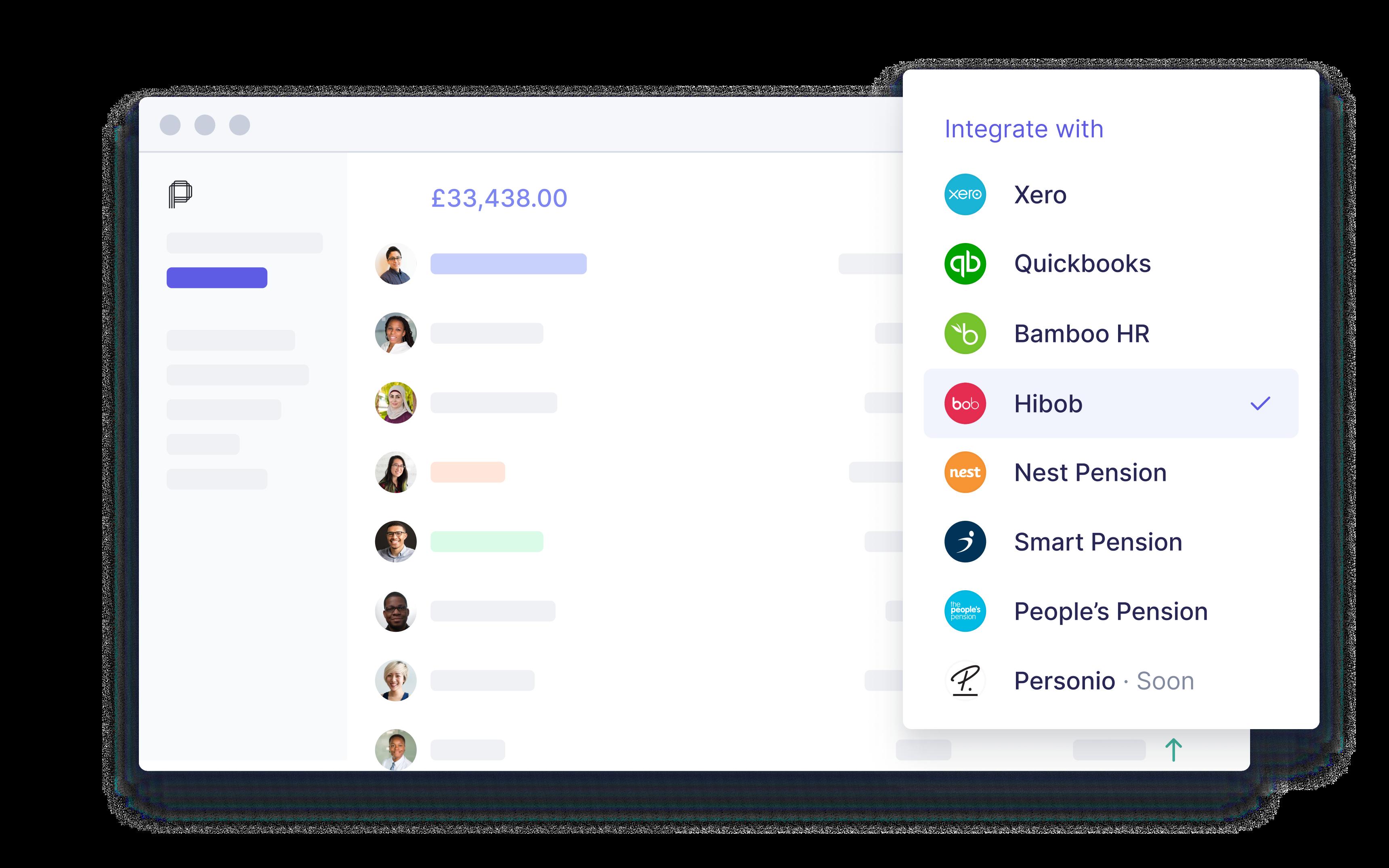 pento payroll integrated with hibob