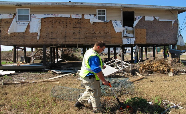 FEMA Corps member surveys private property.