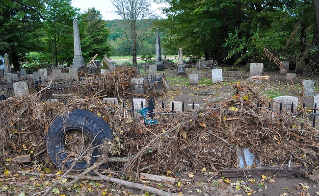 Debris and damage to local cemetery.
