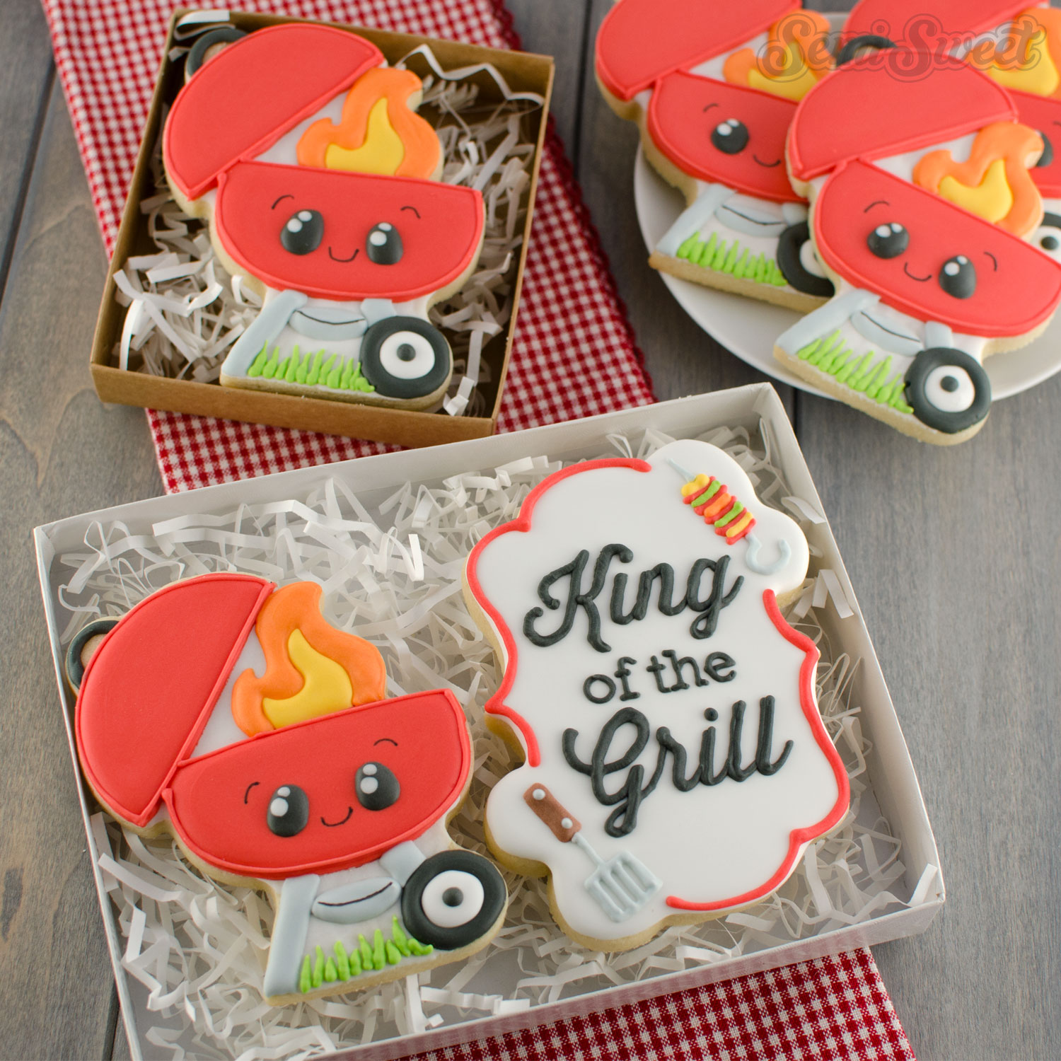 bbq grill cookies in gift boxes