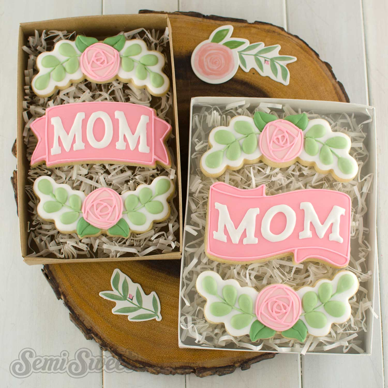 mother's day floral cookies by SemiSweetDesigns.com