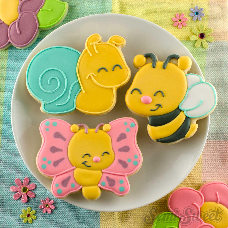 butterlfy, snail, bee, cookies
