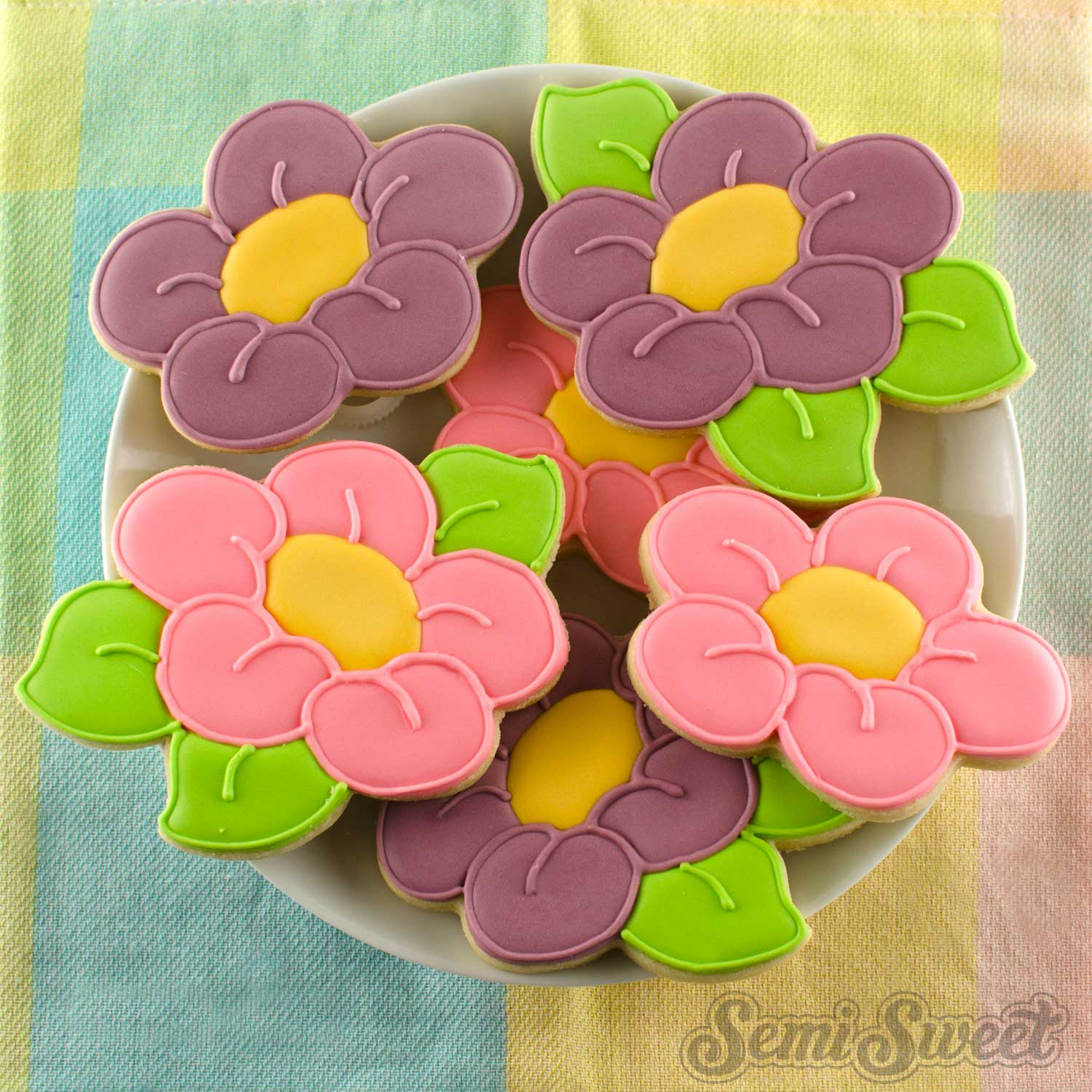 spring daisy flower cookies