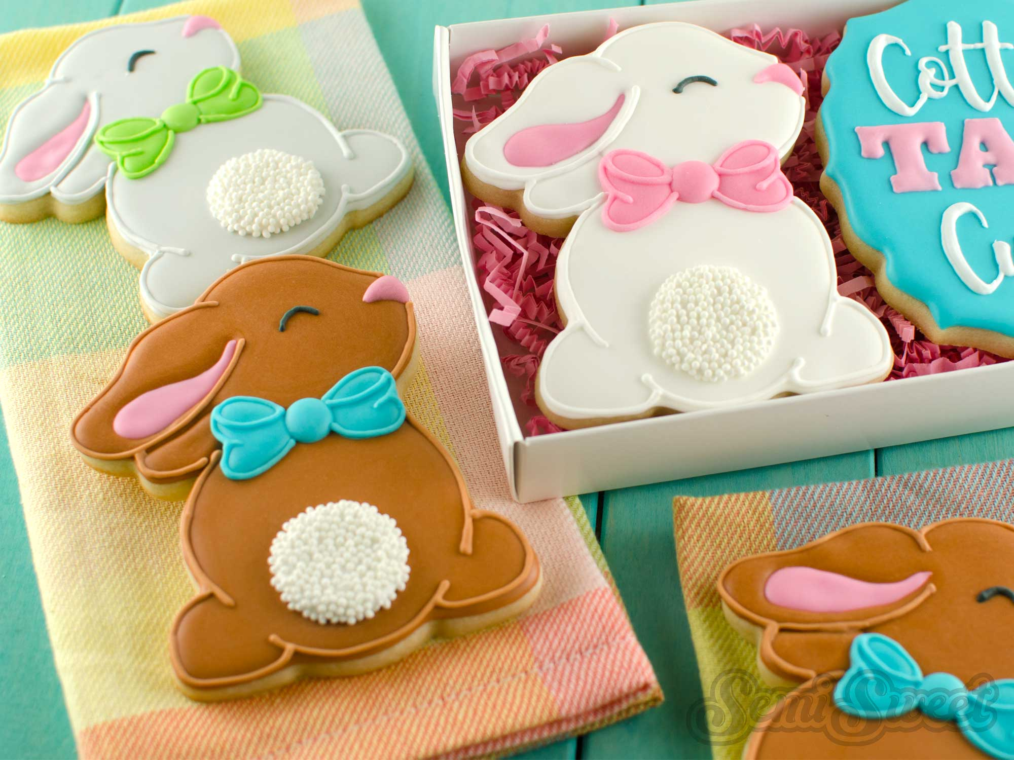 How to Make Cottontail Bunny Cookies by SemiSweetDesigns.com