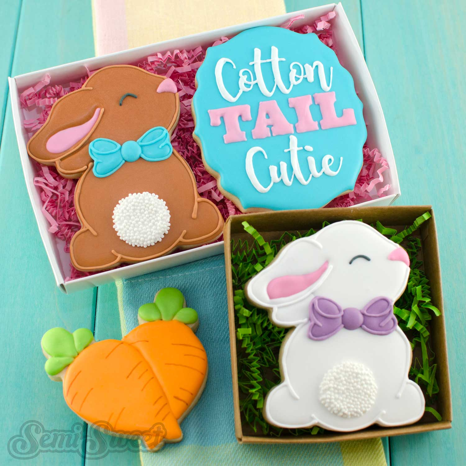 cottontail bunny cookies by SemiSweetDesigns.com