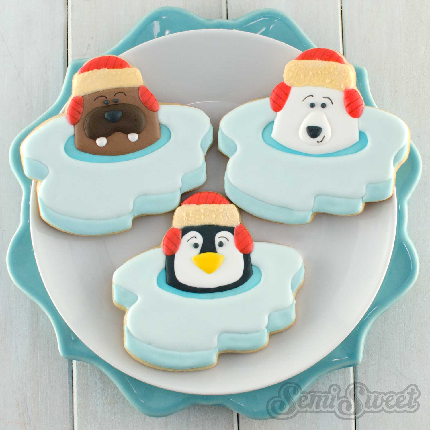 polar animal cookies by Semi Sweet Designs