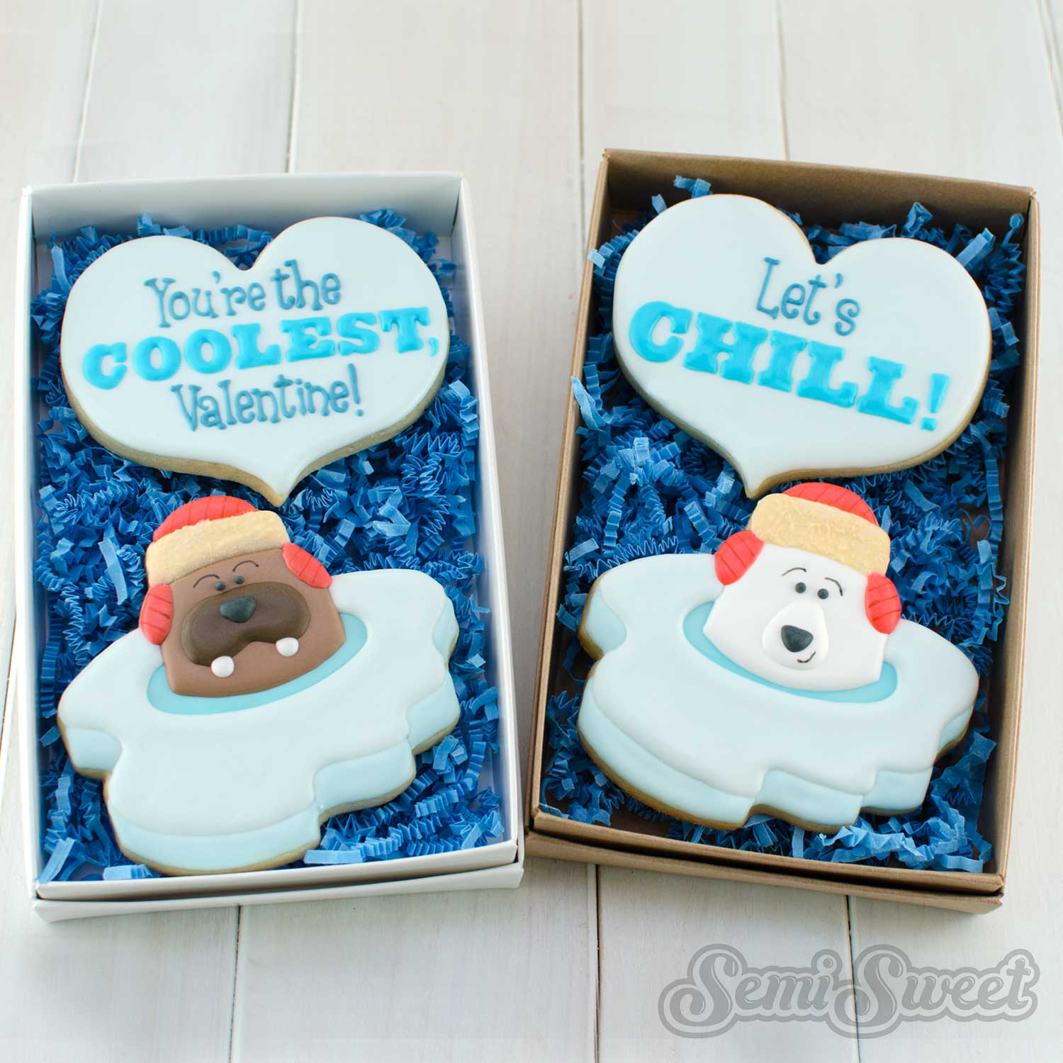 polar animal cookies Valentine's gift by Semi Sweet Designs