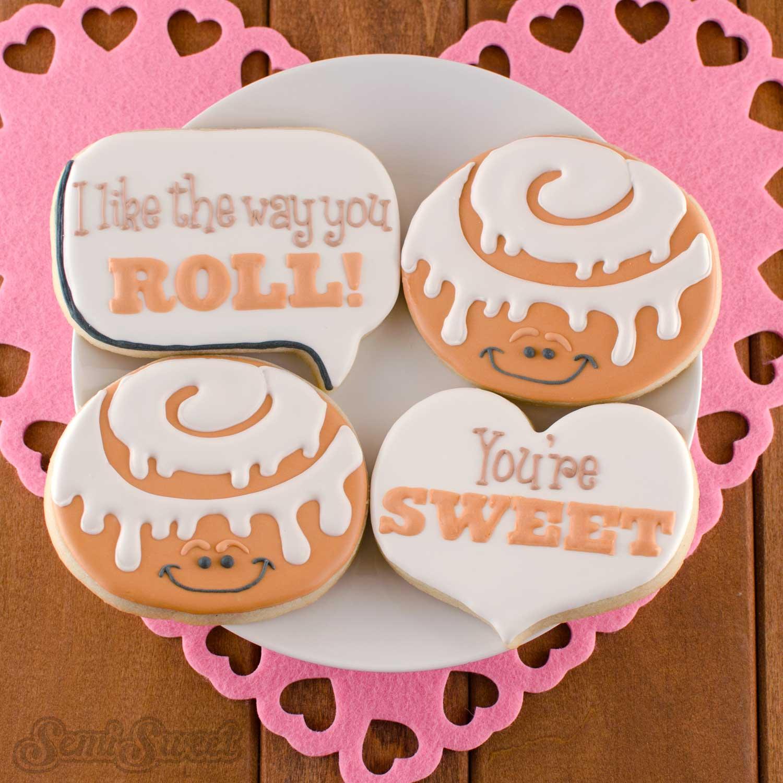 decorated cinnamon roll cookies by Semi Sweet Designs