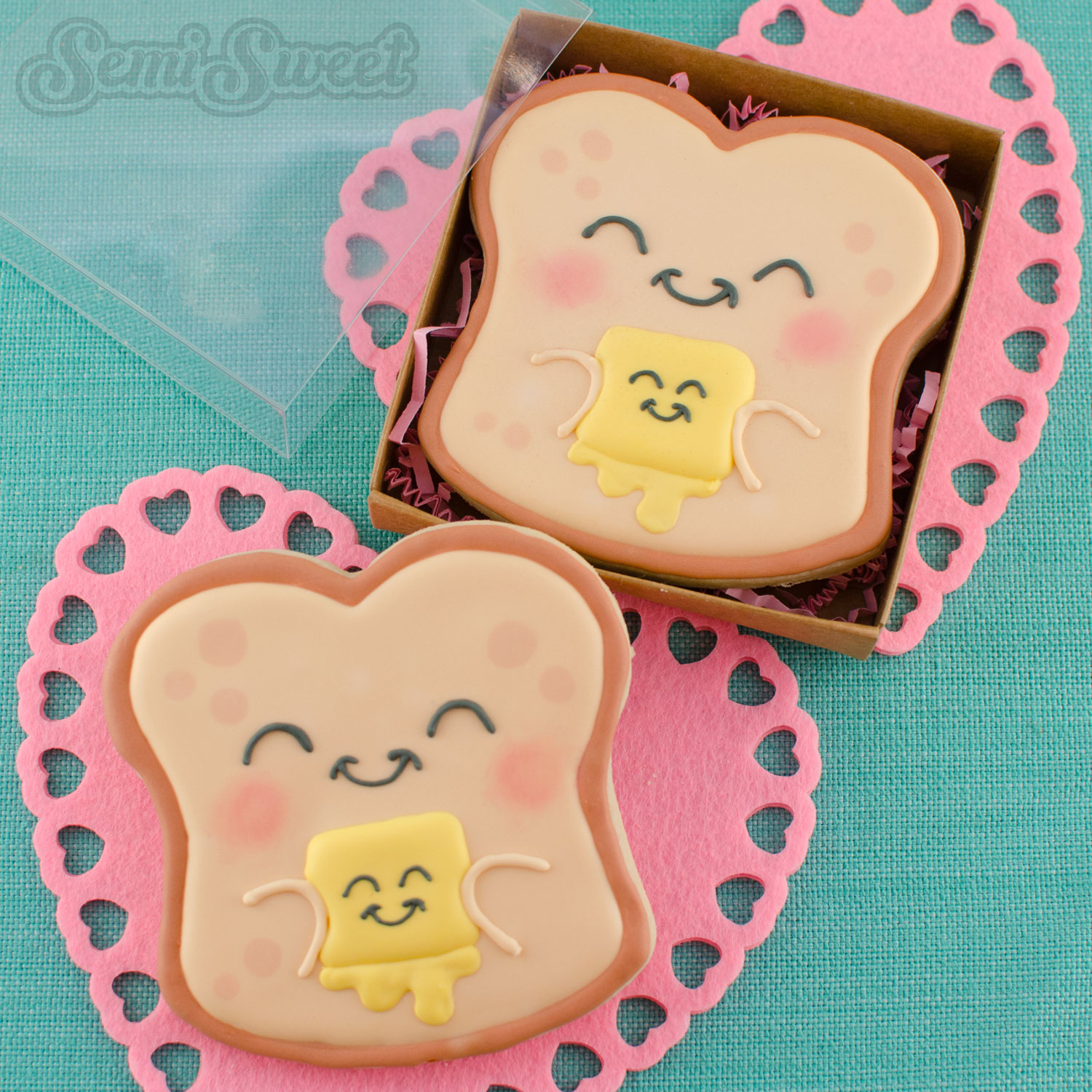 Bread and butter Valentine cookies by SemiSweetDesigns.com