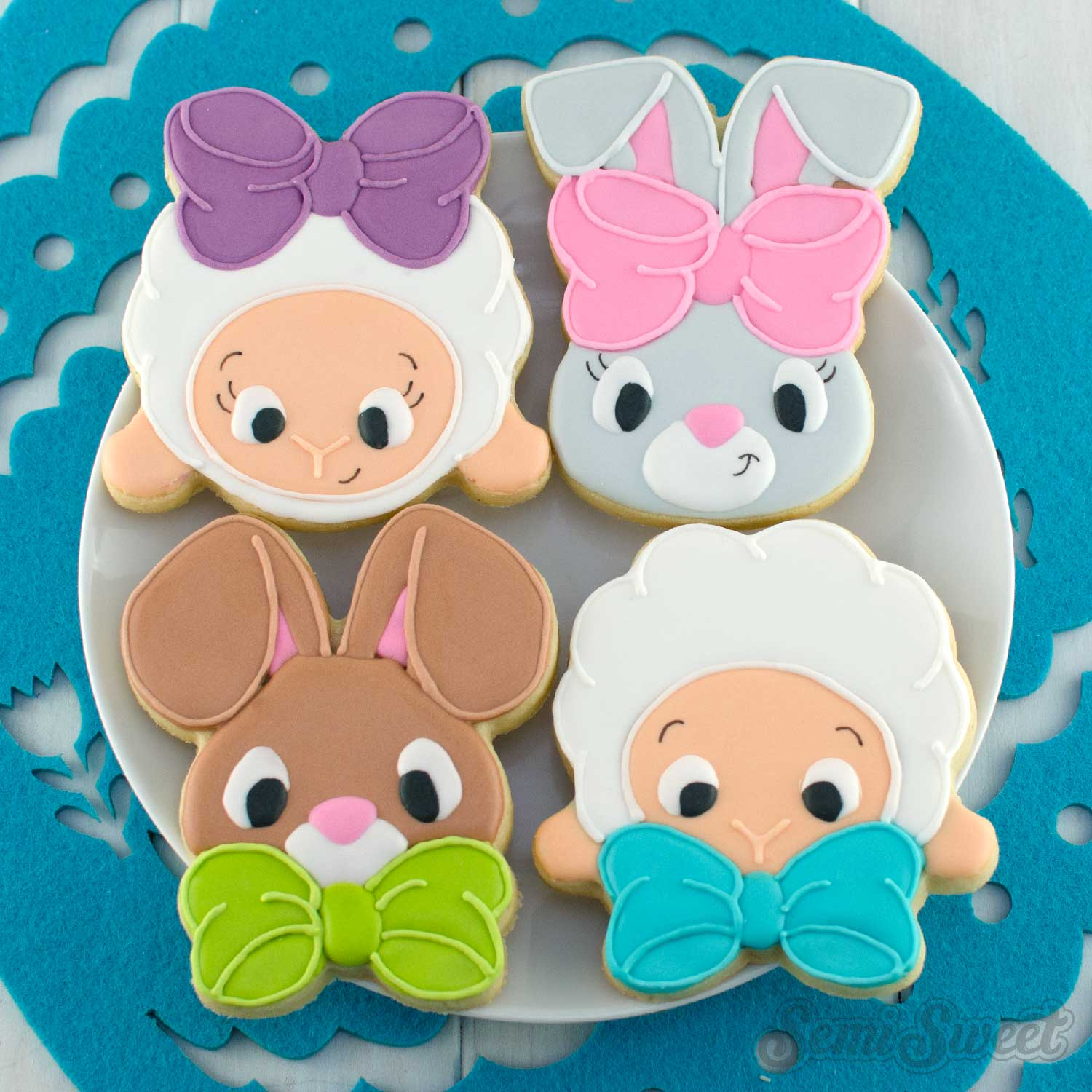 Bow Tie Easter Animal Cookies by SemiSweetDesigns.com