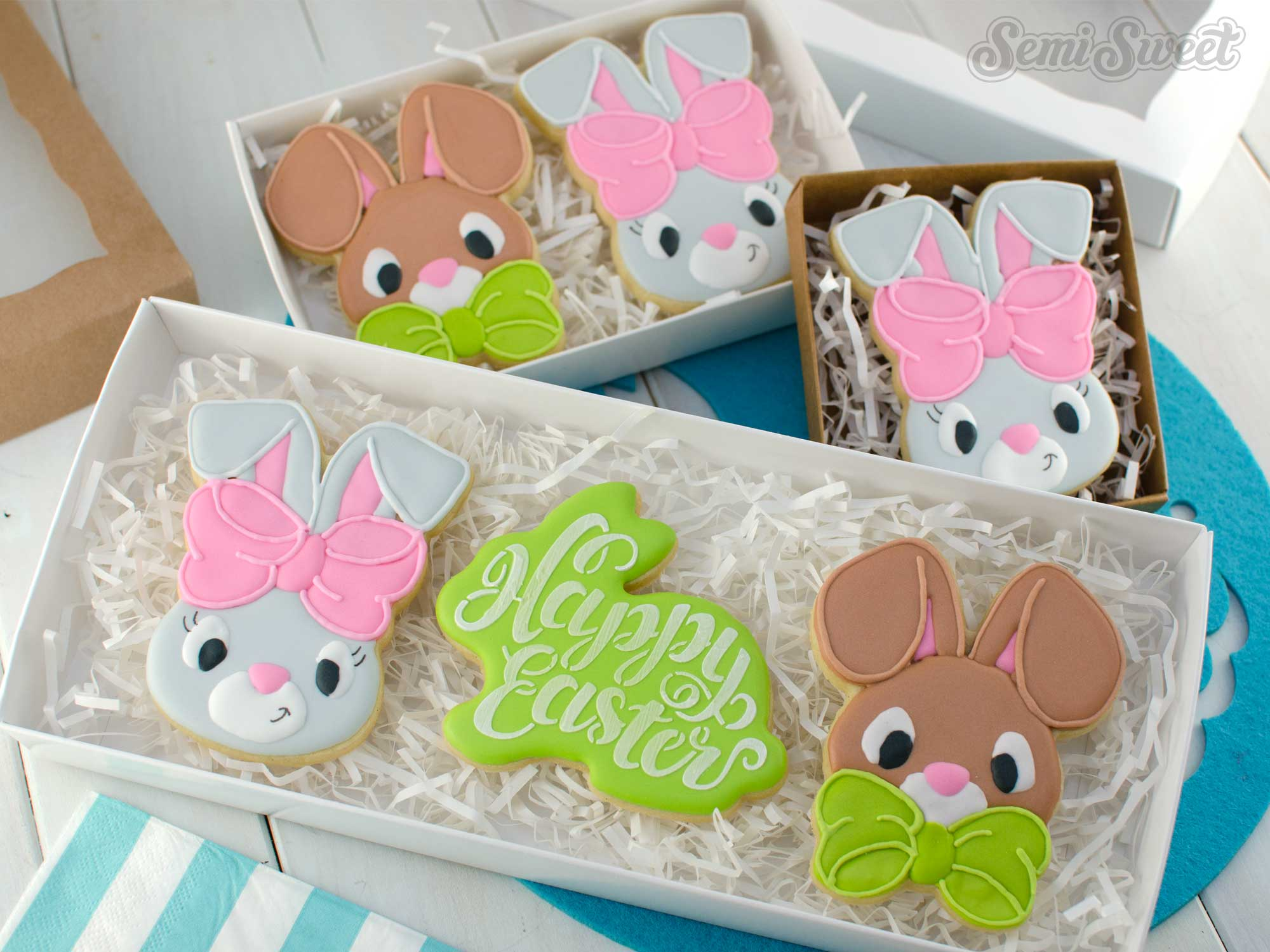 Easter Bunny Cookies with bows by SemiSweetDesigns.com