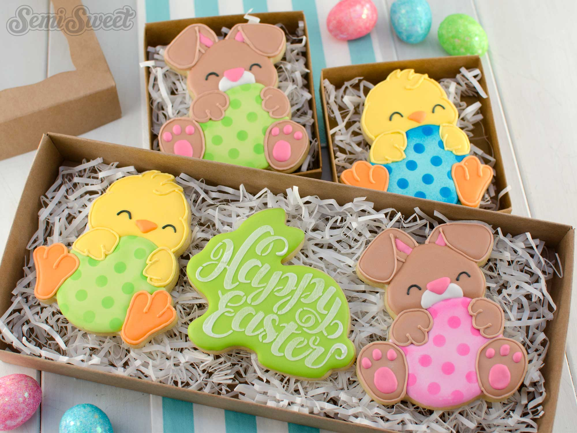egg hugger easter cookies in boxes