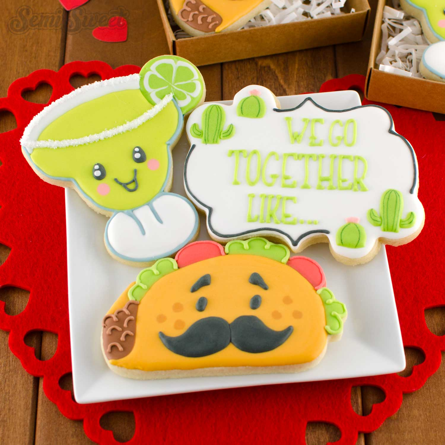 margarita and taco cookies by semisweetdesigns.com