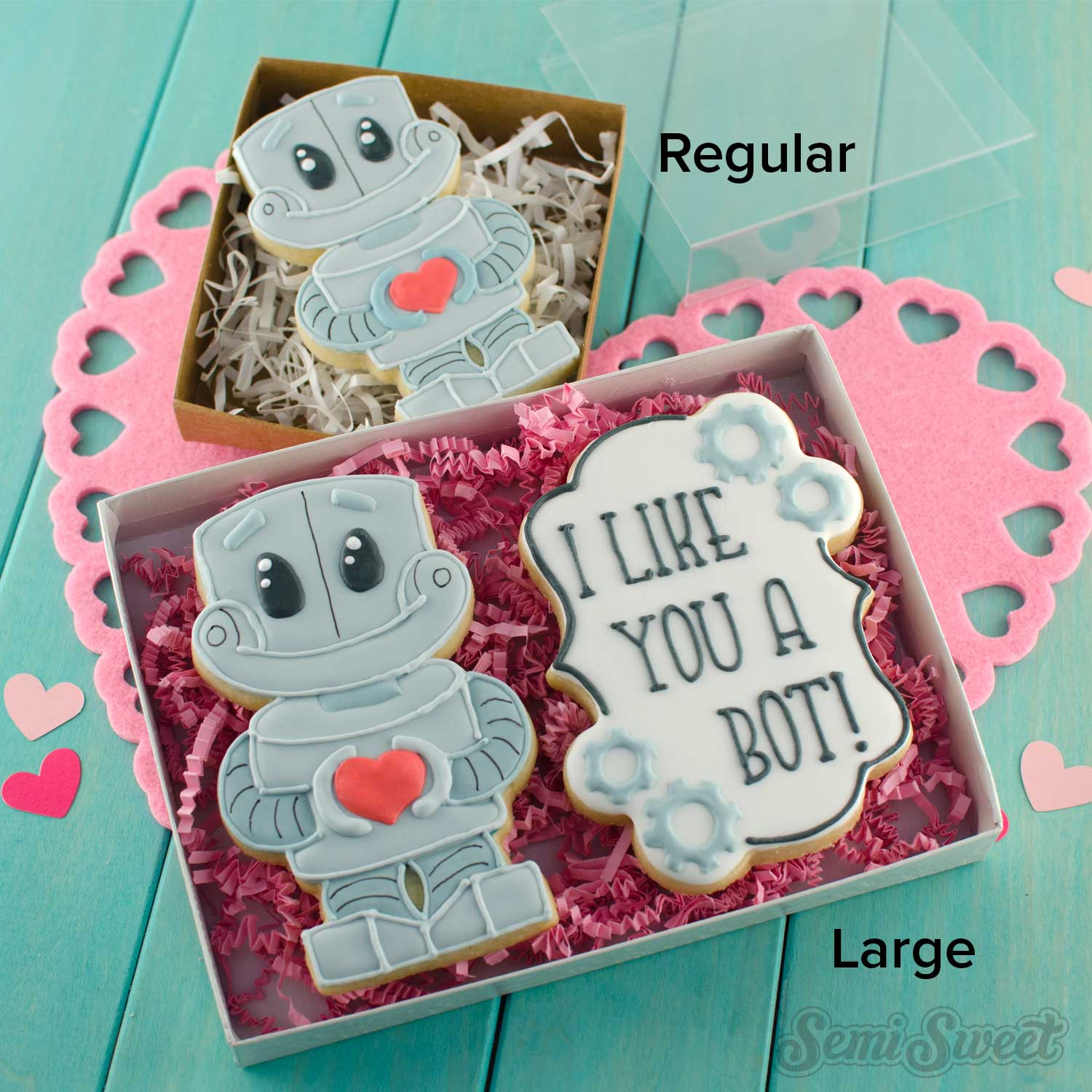 robot cookies in boxes