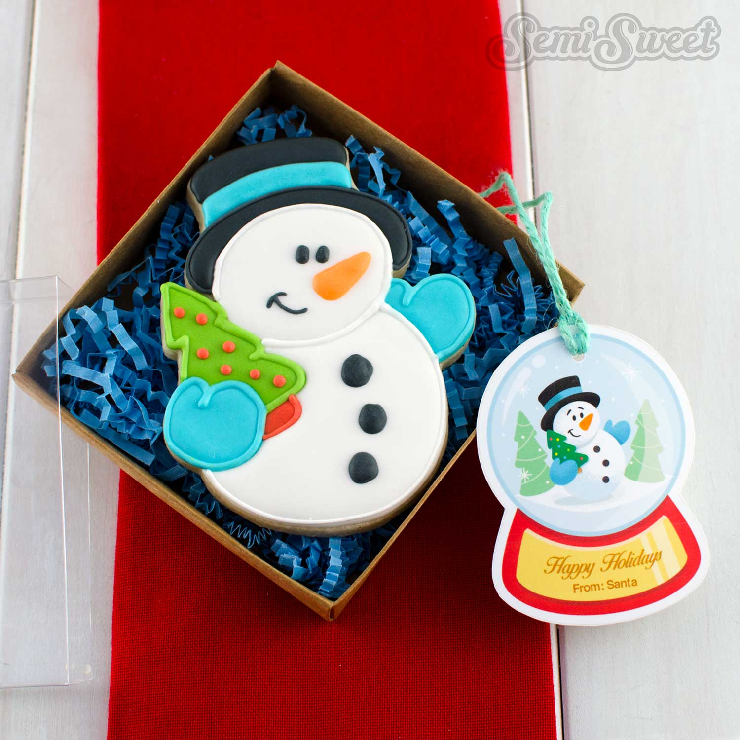 snowman cookie box set with gift tag.