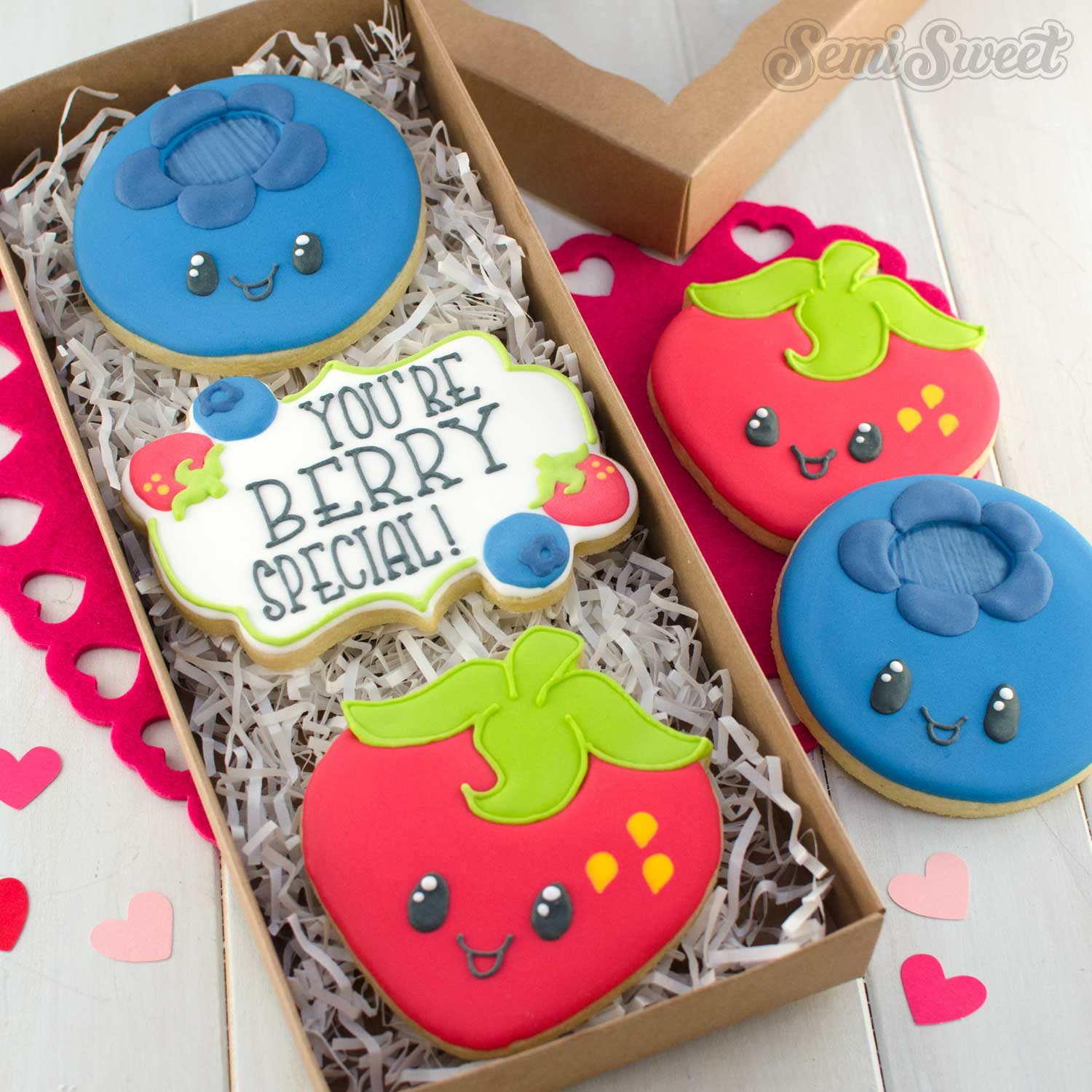 valentine's day berry cookies by SemiSweetDesigns.com