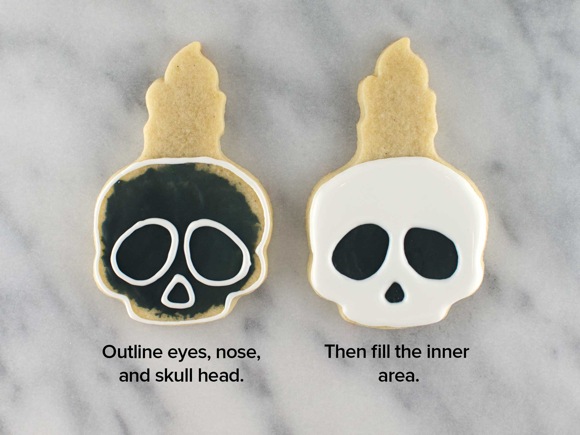 skull candle cookies step 2
