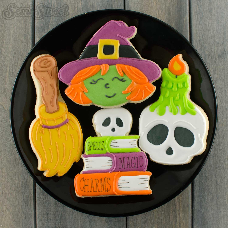 halloween cookies witch, broom, and spells