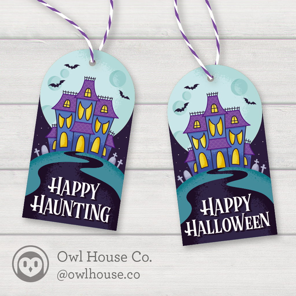 haunted house gift tag
