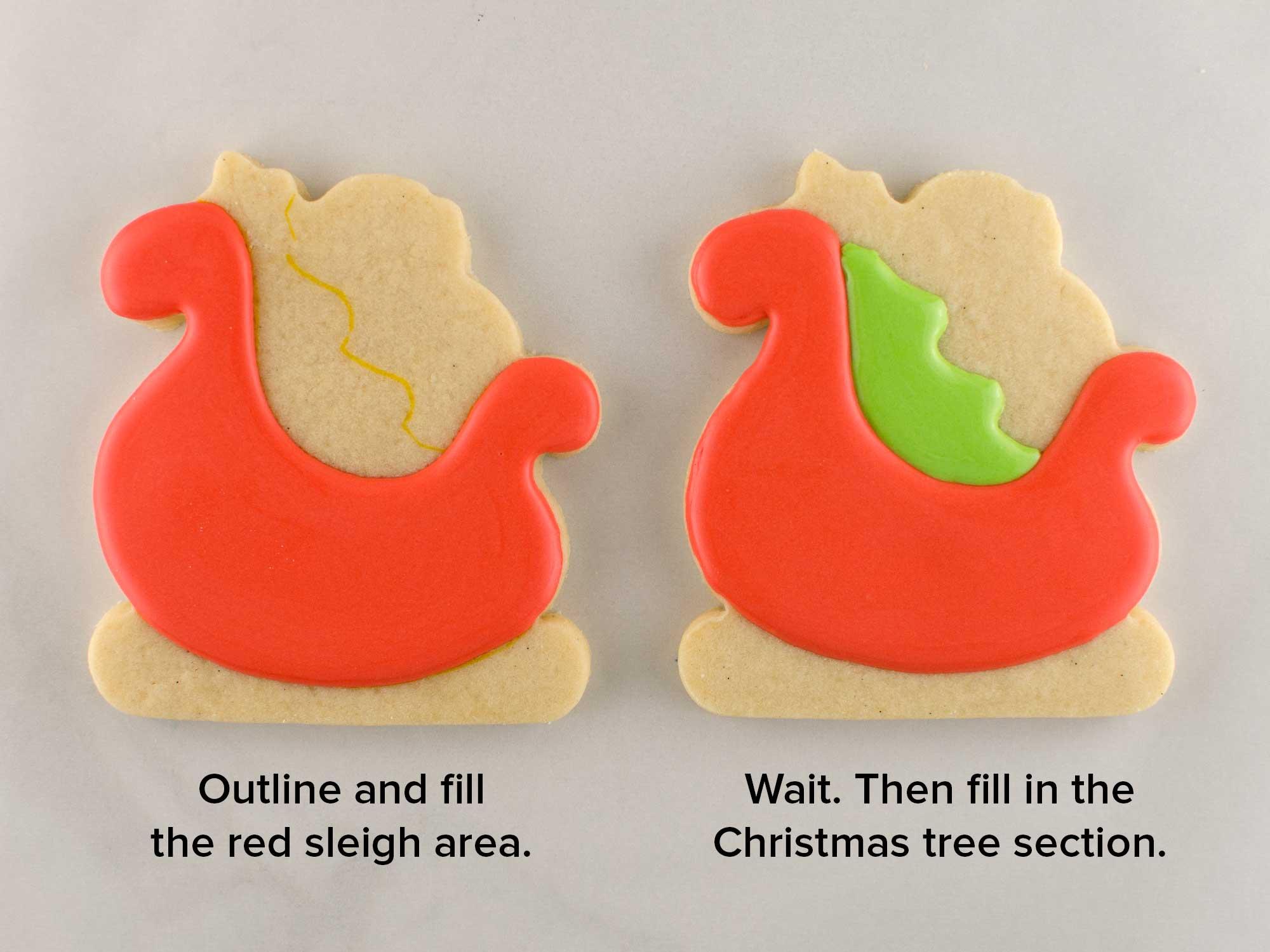 santa sleigh cookies step 2