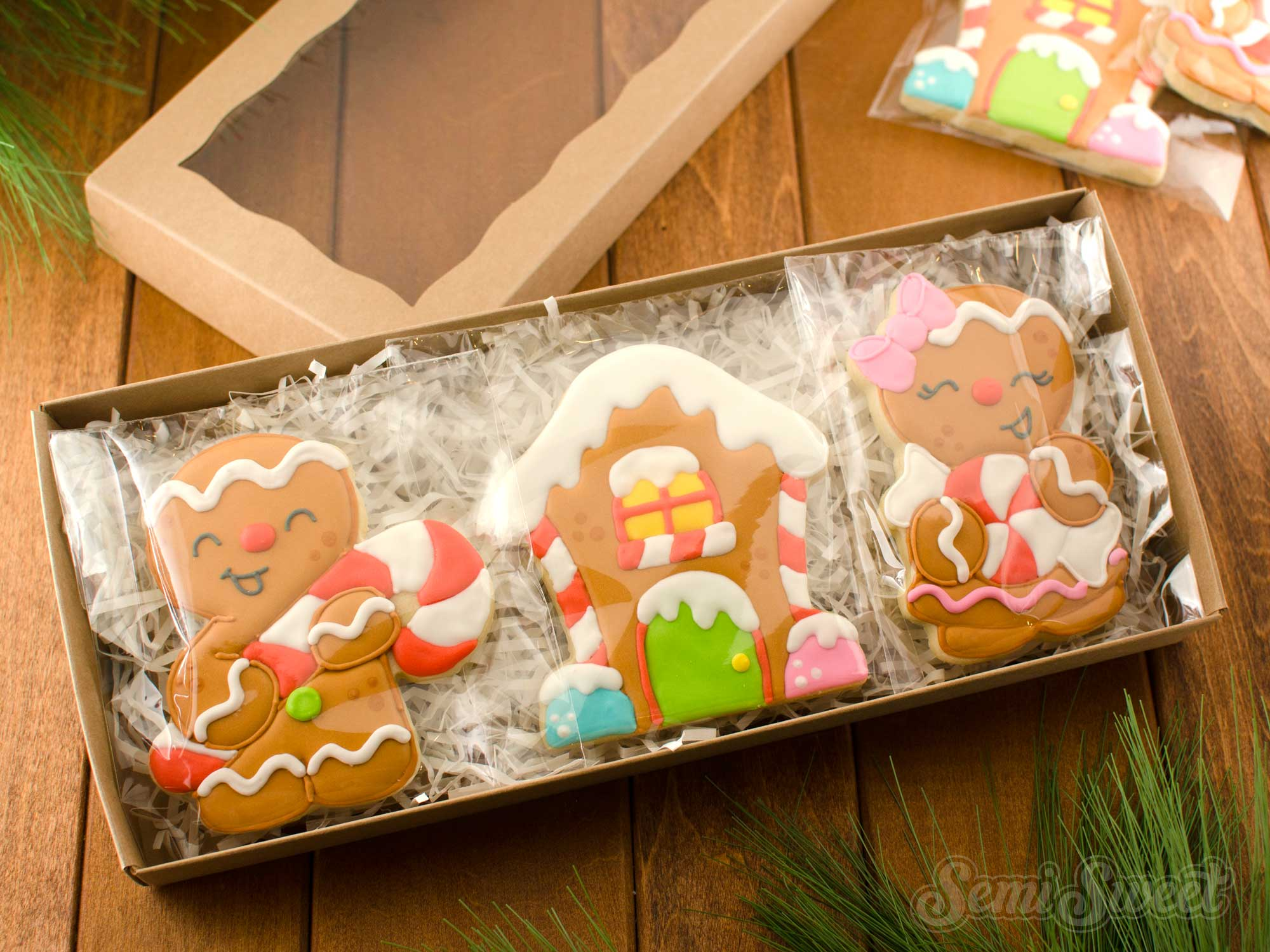 Gingerbread cookies in a box by SemiSweetDesigns.com