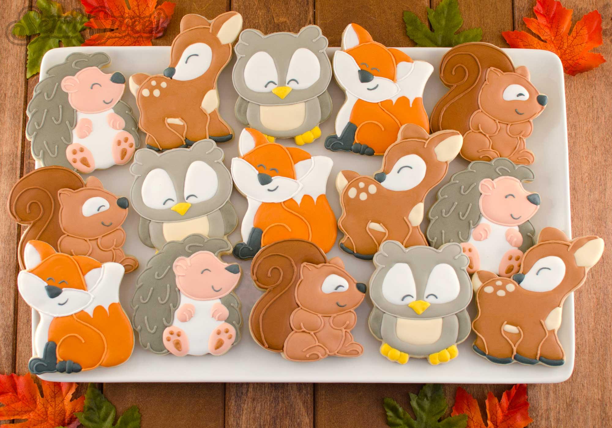 woodland animal cookie platter