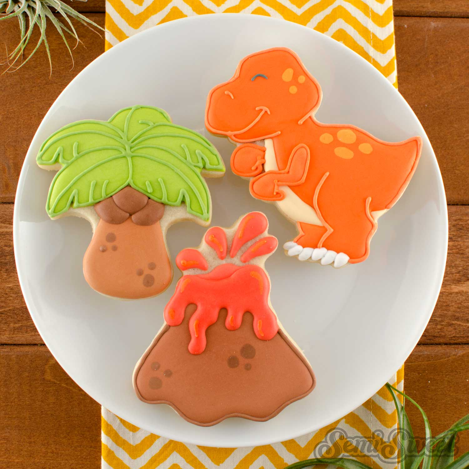 Palm tree and volcano cookie cutters by SemiSweetDesigns.com