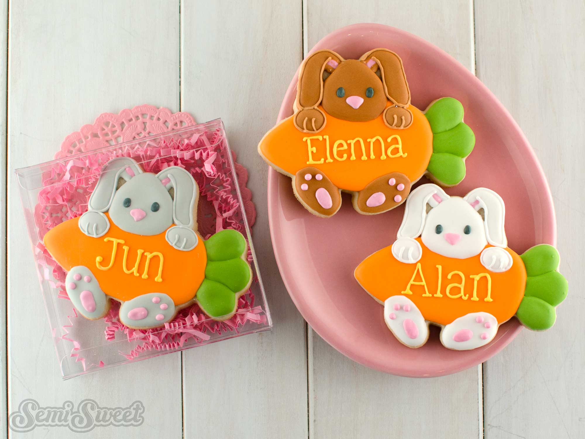 Bunny hanging on a carrot cookies by Semi Sweet Designs