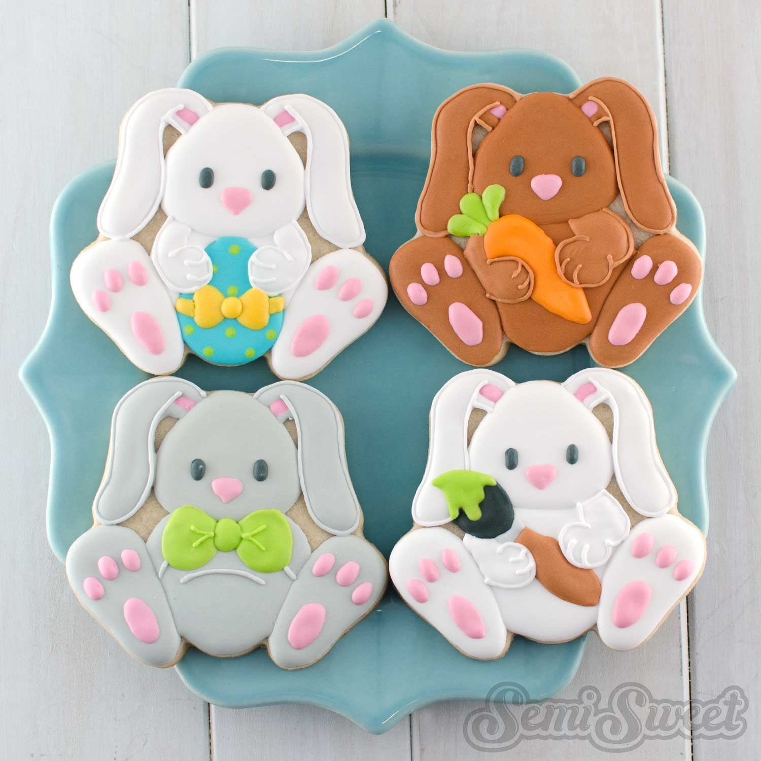 Easter Bunny Cookies by Semi Sweet Designs