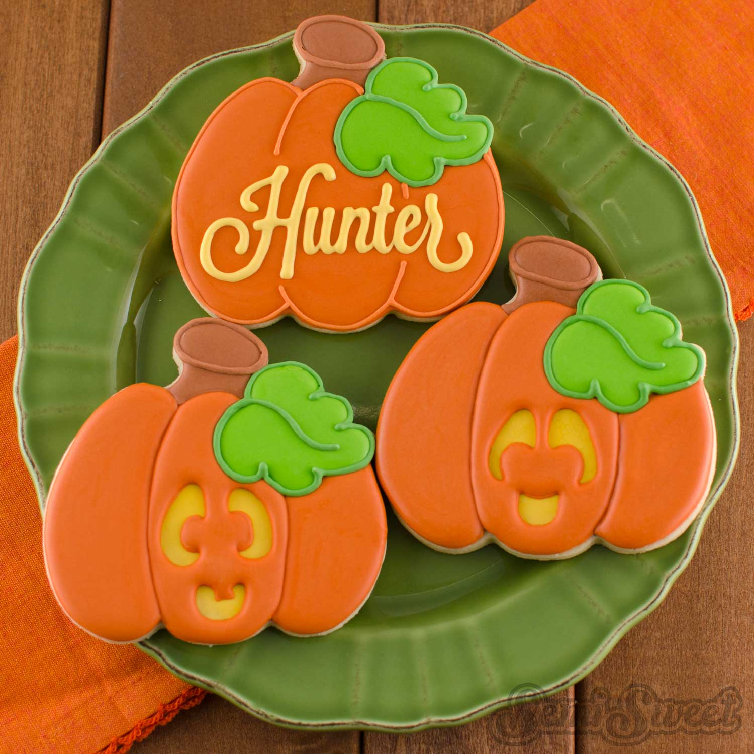 decorated pumpkin cookies