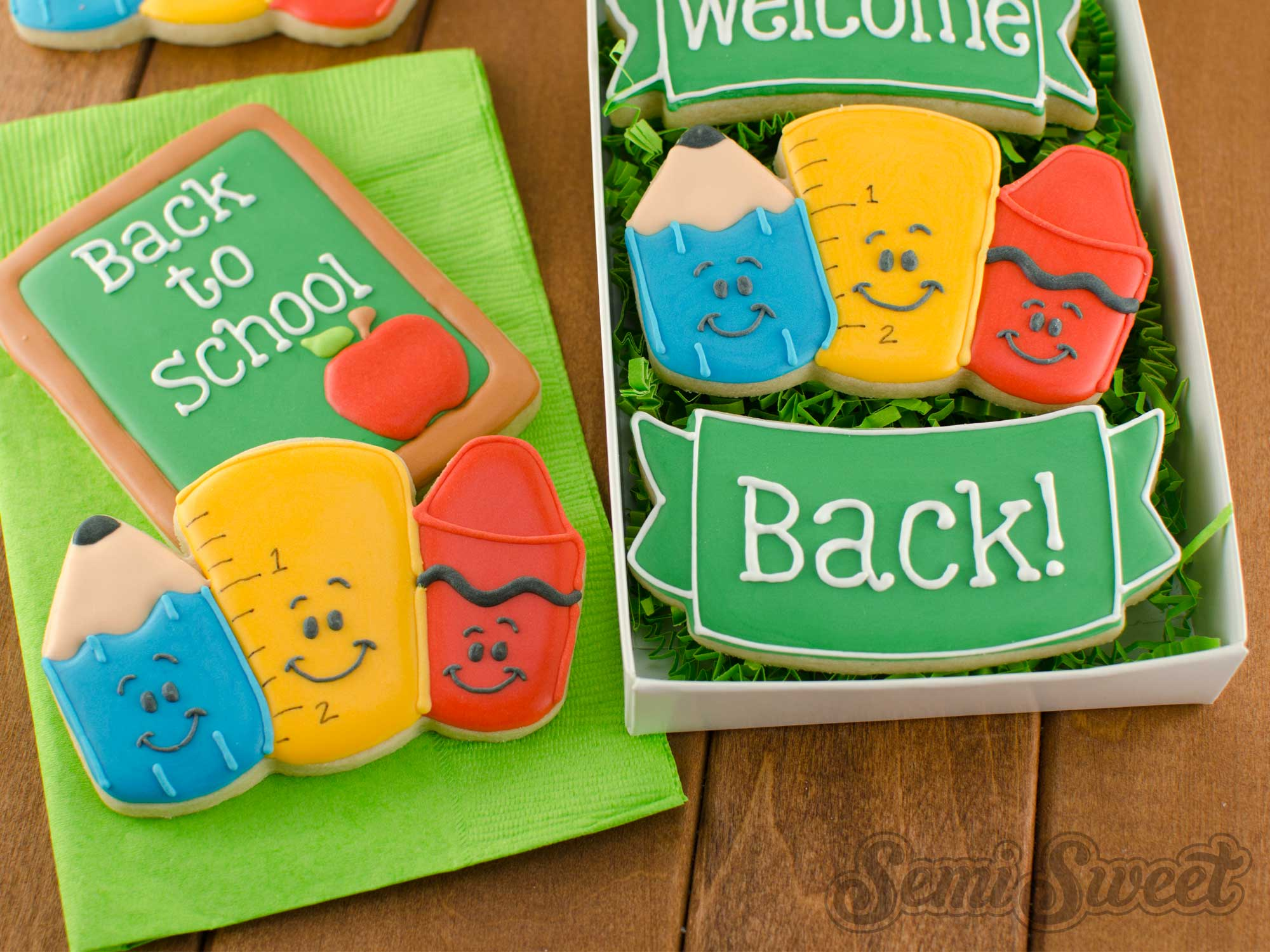 How to Make School Supply Cookies by SemiSweetDesigns.com