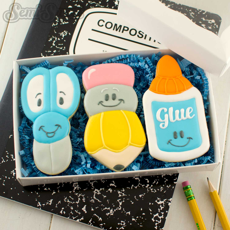 school supplies cookie gift set