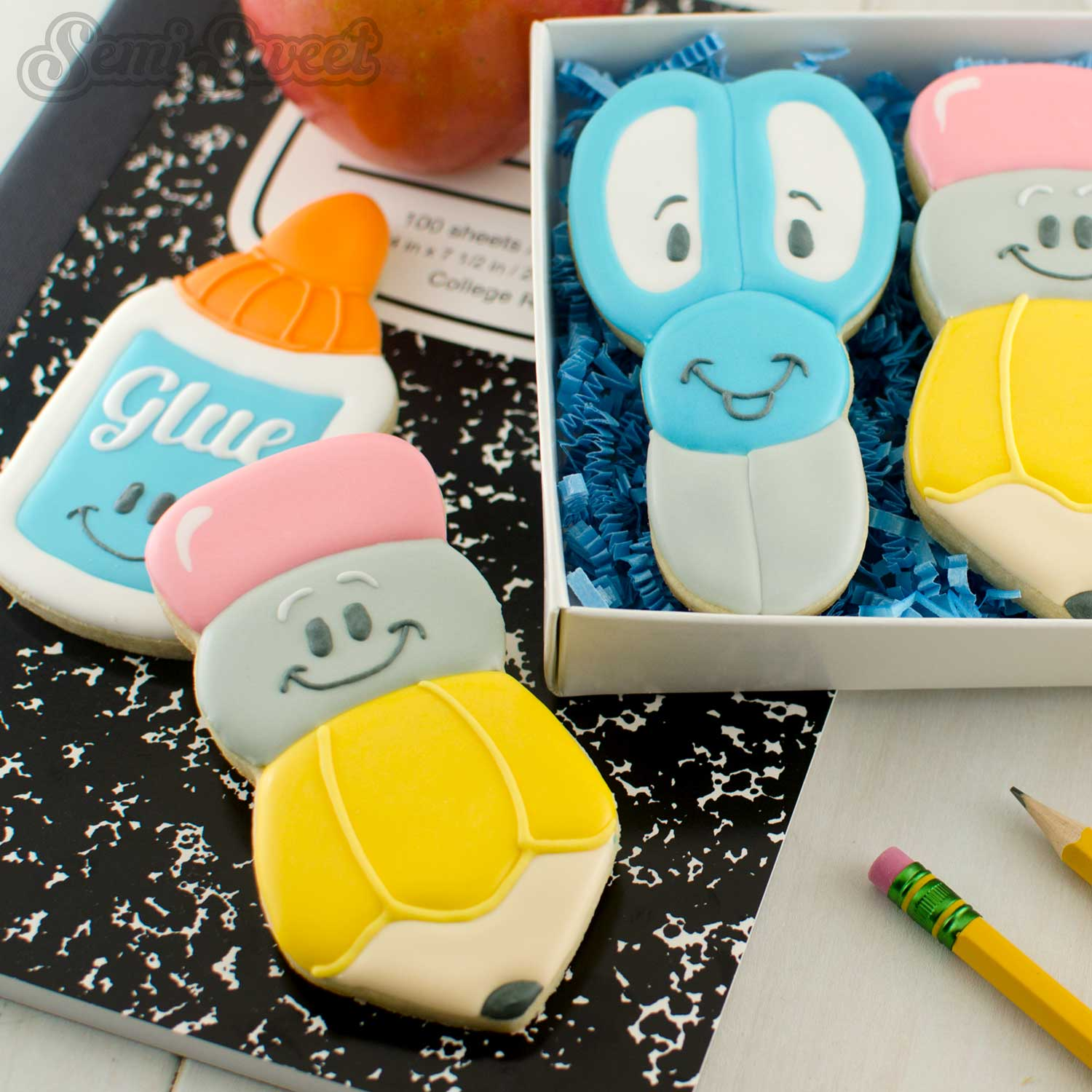 How to make decorated pencil cookies by www.SemiSweetDesigns.com