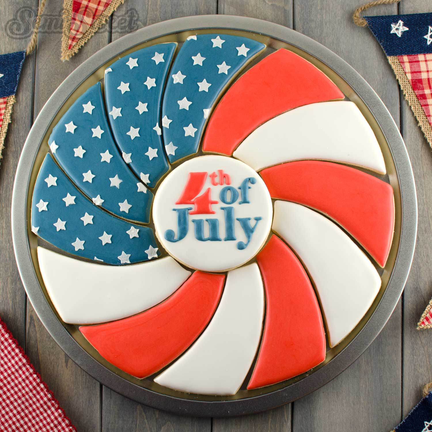 Patriotic Flag Spiral Cookie Platter