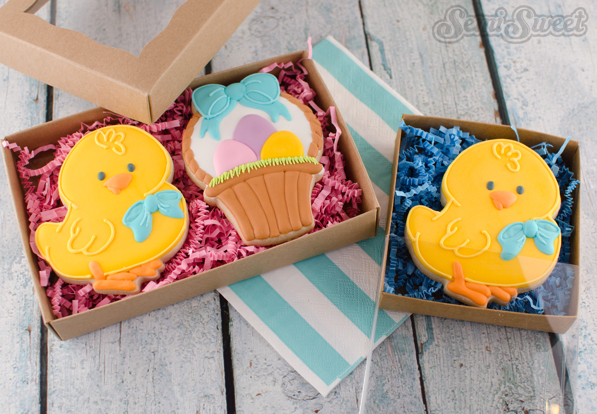 Easter chick cookies in packaging