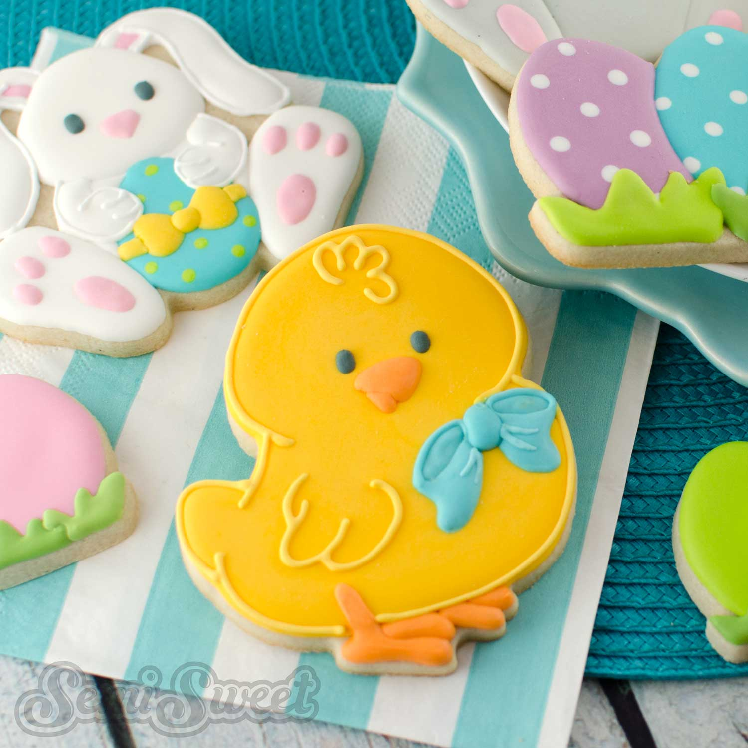 How to Make Easter Chick Cookies by SemiSweetDesigns.com