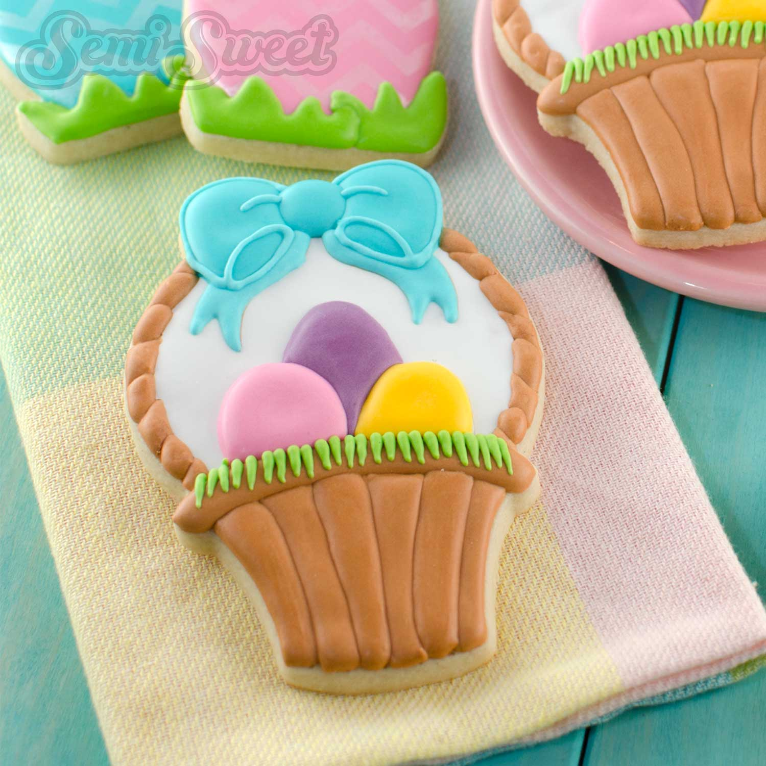 How to Make Easter Basket Cookies by SemiSweetDesigns.com