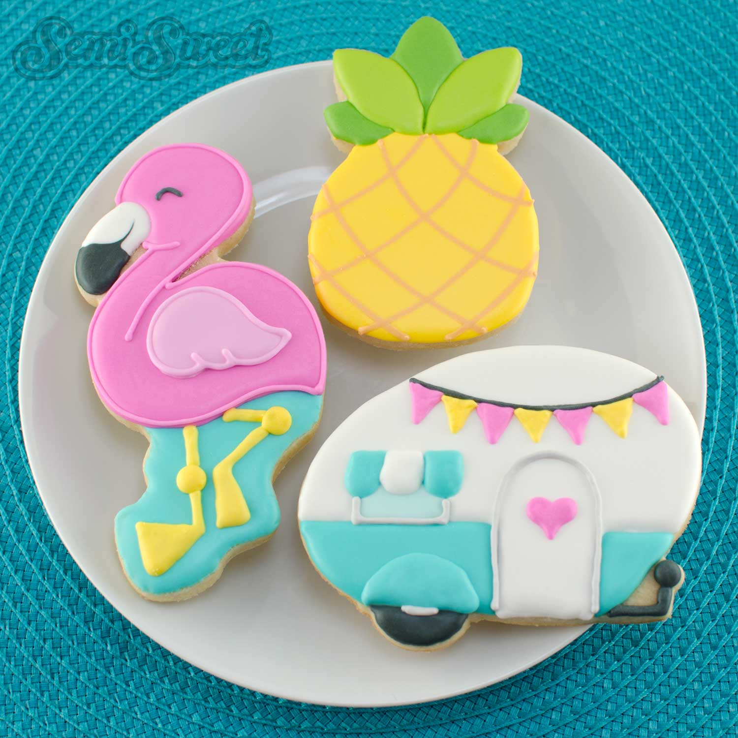 flamingo cookies with pineapple and camper