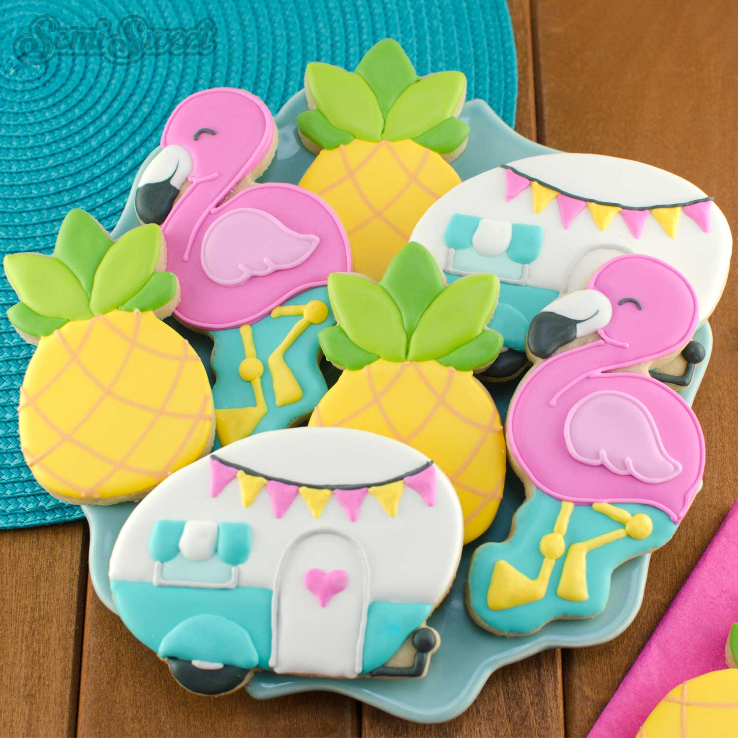 flamingo cookies platter