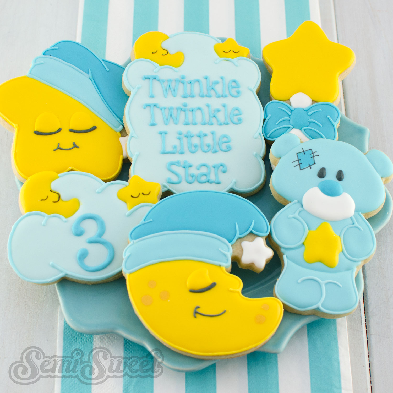 twinkle twinkle little star cookies by SemiSweetDesigns.com