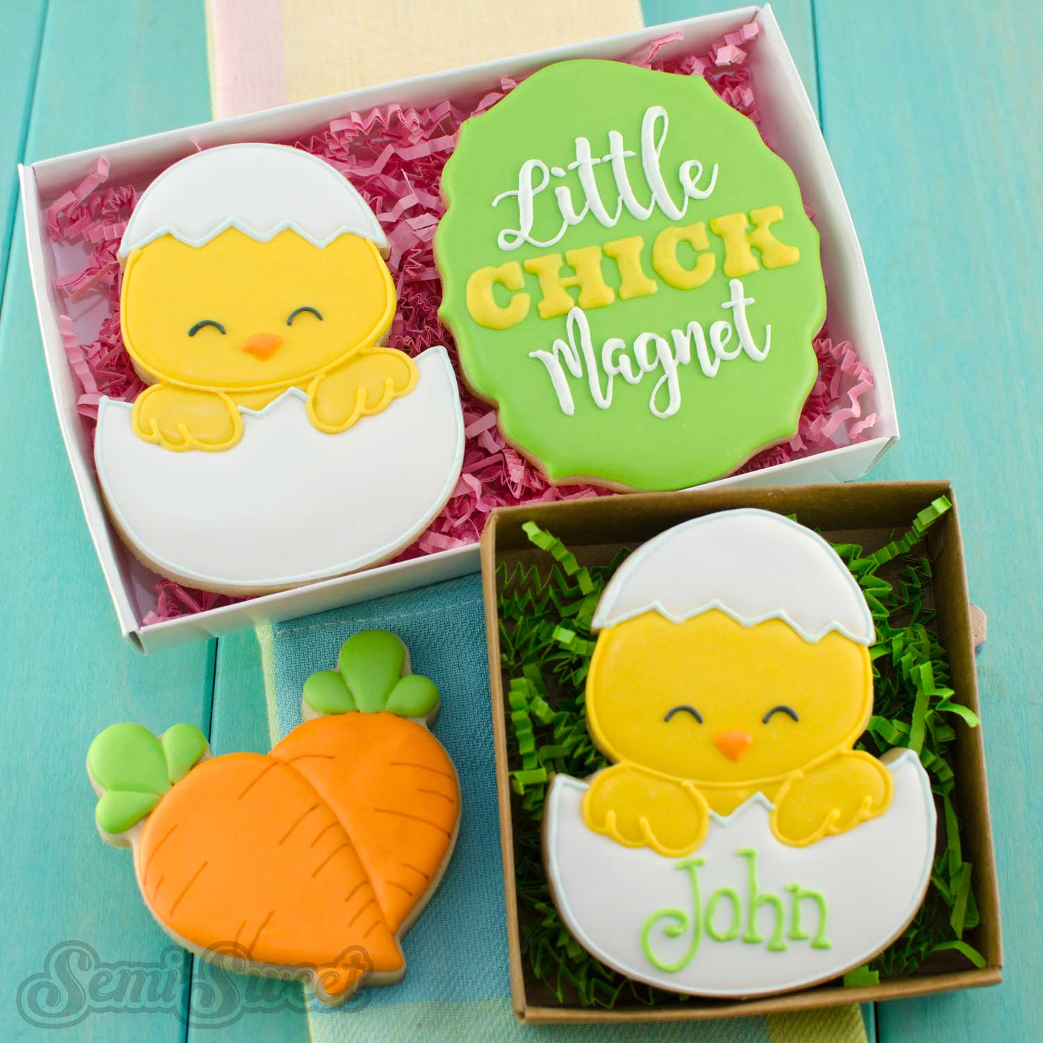 chick in egg cookies by SemiSweetDesigns.com