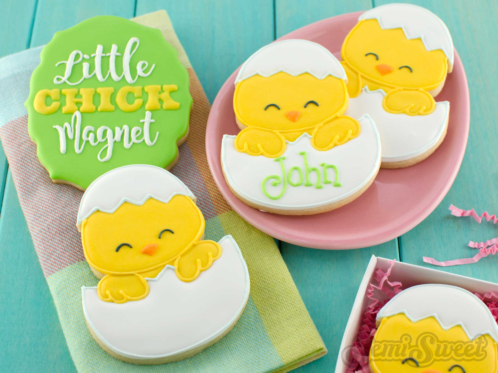 How to Make Chick in Egg Cookies by SemiSweetDesigns.com