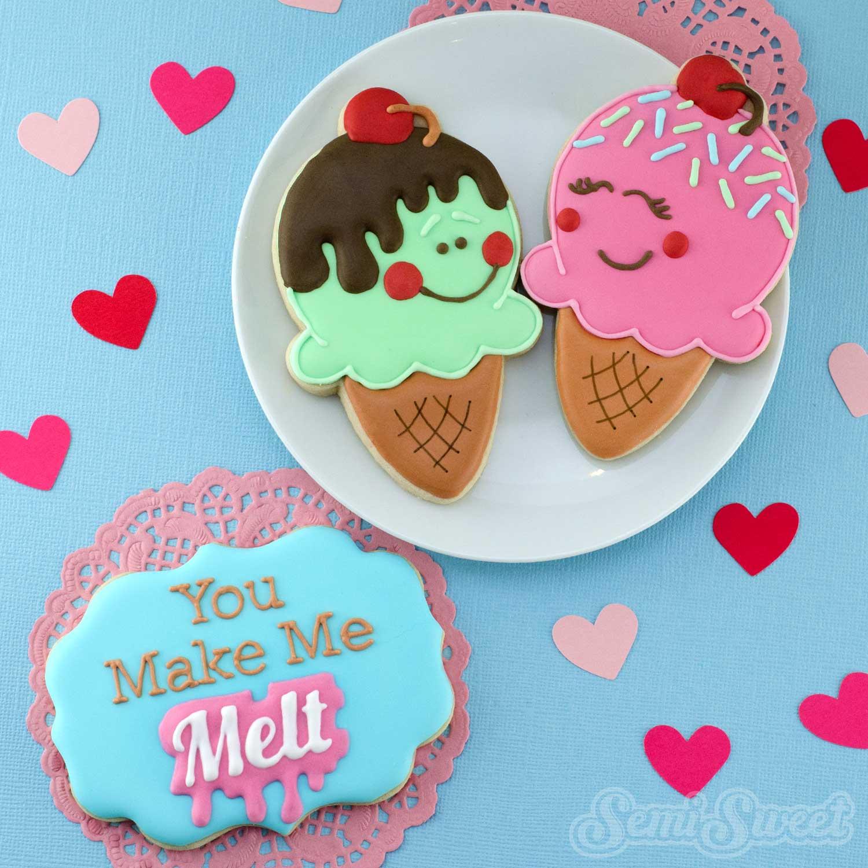 Valentine Ice Cream Cone Cookies by Semi Sweet Designs