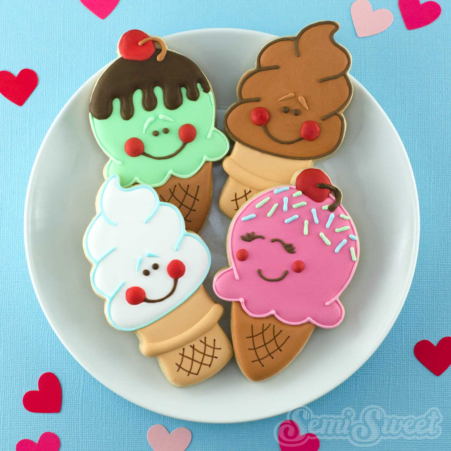 Ice Cream Cone Cookies by Semi Sweet Designs