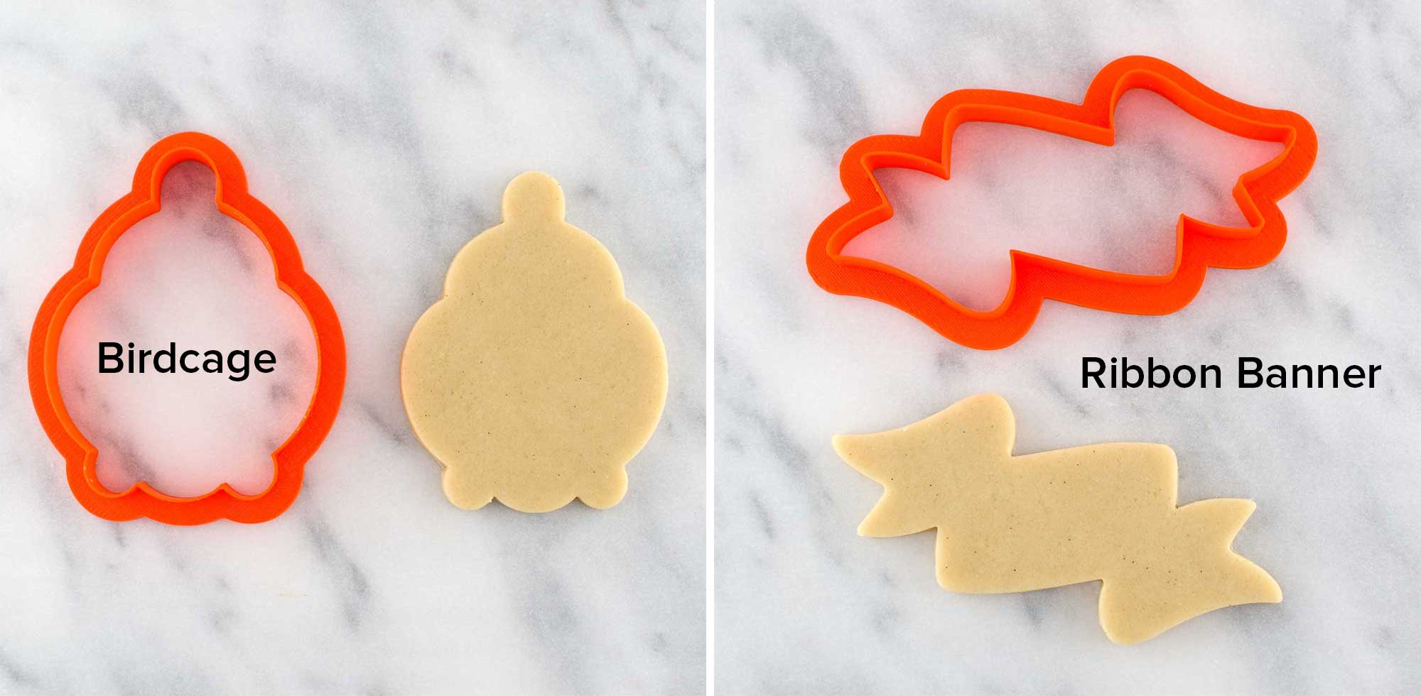 birdcage and ribbon banner cookie cutters