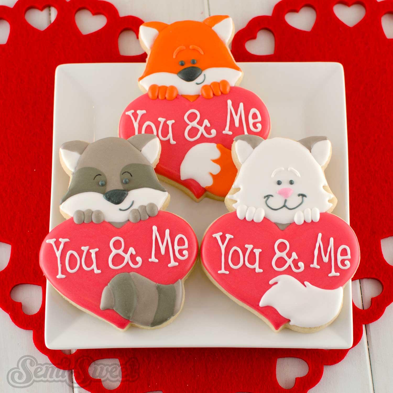 animal heart valentine's day cookies