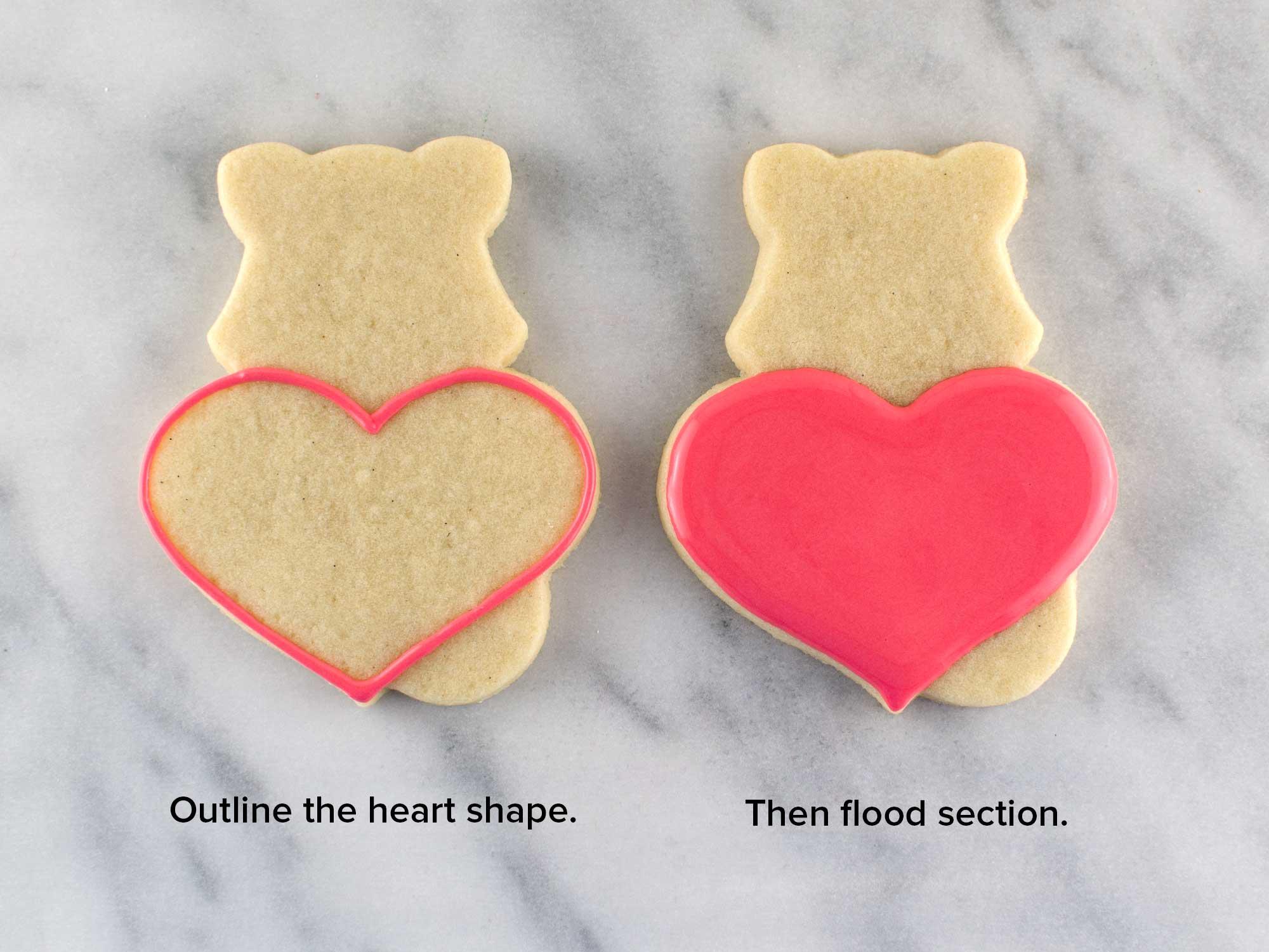 fox heart cookie step 1